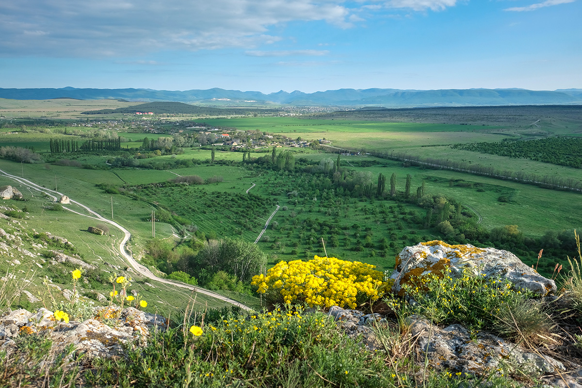 Spring landscape with a beautiful view of the green valley. Belogorsk, Crimea.